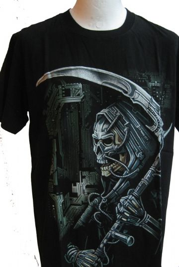 The Digital Grim Reaper ' Glow In The Dark ' T Shirt With Large Back Print